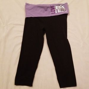 """VS/PINK """"LOVE PINK"""" Fold-Over Crop Leggings Small"""
